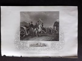 Tallis (Pub) 1854 Military Print. Death of Dhoondiah at Conaghull. India